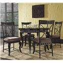 Powell Powell Cafe Wayland Faux Marble Round Dining Table with Curved Legs - Shown with Side Chairs