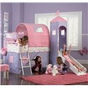 Powell Princess Princess Castle Twin Bunk Bed with Tent and Slide - 374-069