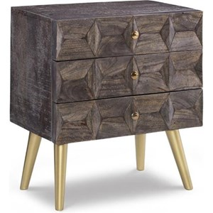 Contemporary Three-Drawer Cabinet with Metal Legs
