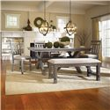 Powell Turino Rectangular Dining Bench with Tan Fabirc Seat - 457-260 - Shown in Dining Setting