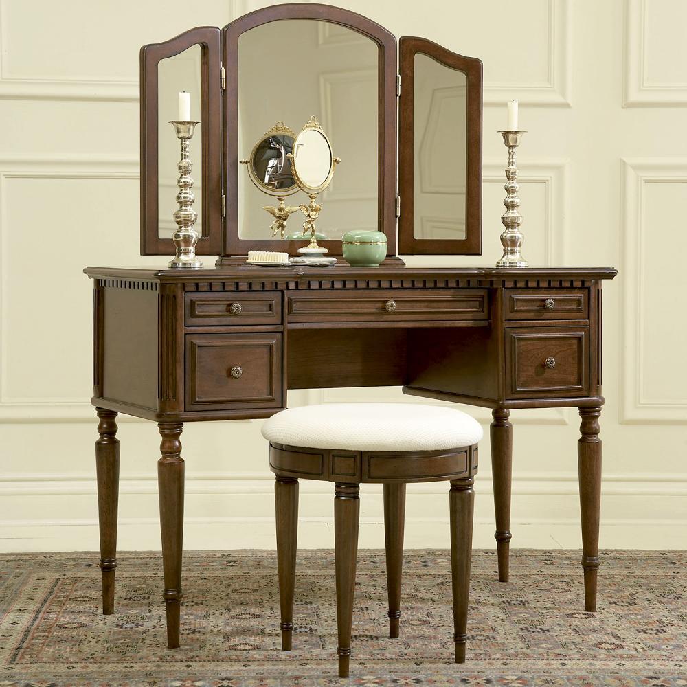 Powell Warm Cherry Vanity, Mirror, & Stool - Item Number: 429-290