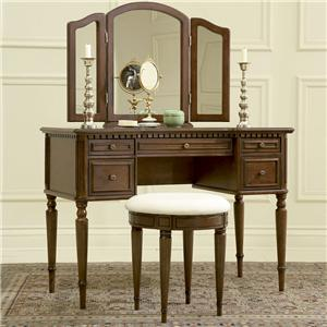 Powell Warm Cherry Vanity, Mirror, & Stool