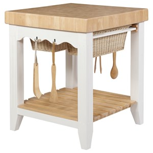 Transitional Kitchen Island with 2 Pullout Basket Drawers and Open Lower Shelf
