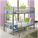Powell Youth Beds and Bunks Heavy Metal Twin Over Twin Bunk Bed - 941-138 - Shown in Room Setting
