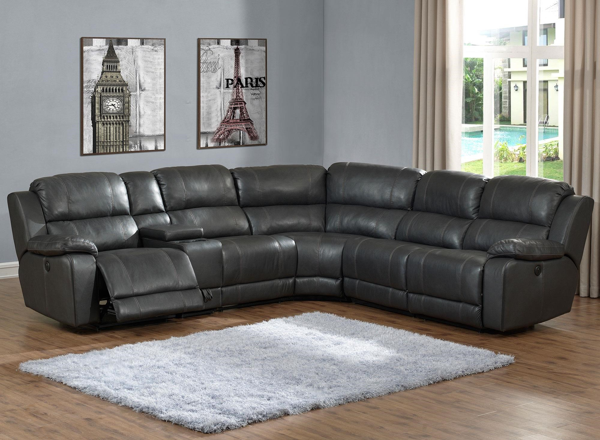 Prime Resources International Calais 6PC Power Reclining Leather Sectional - Item Number: A317-6PC-PRSEC