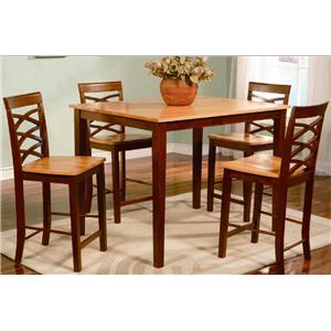 Primo International 1553 Two-Toned Counter Height Table and Chairs Set