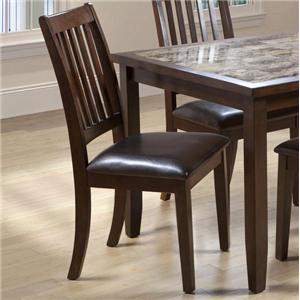 Primo International 2096 Dining Slat Back Side Chair with Upholstered Seat