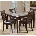 Primo International 2096 Dining Slat Back Side Chair with Upholstered Seat - Shown with Rectangular Dining Table
