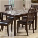 Primo International 2096 5 Piece Rectangular Table & Upholstered Chair Set - Rectangular Table with Faux Marble Top