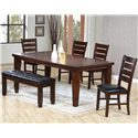 Primo International 2842 Rectangle Dining Leg Table With Butterfly Leaf - Shown with Upholstered Bench & Side Chairs