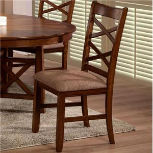 Primo International 6506 X-Back Side Chair with Upholstered Seat