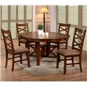 Primo International 6506 X-Back Side Chair with Upholstered Seat - Shown with Extension Leaf Dining Table