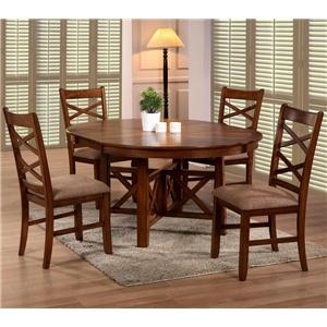 Primo International 6506 Extension Leaf Oval Table & Upholstered Side Chair Set