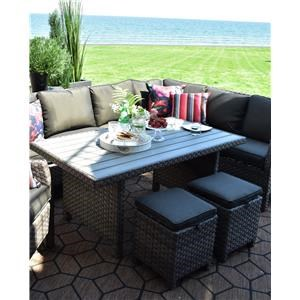 Wicker and Aluminum Outdoor Dining Table