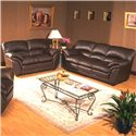 Primo International Poirot Casual Stationary Leather Love Seat - Shown with Matching Sofa