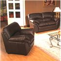 Primo International Poirot Casual Stationary Leather Love Seat - Shown with Matching Chair