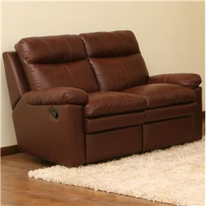Primo International Ribbon Reclining Loveseat with Pillow Top Cushions