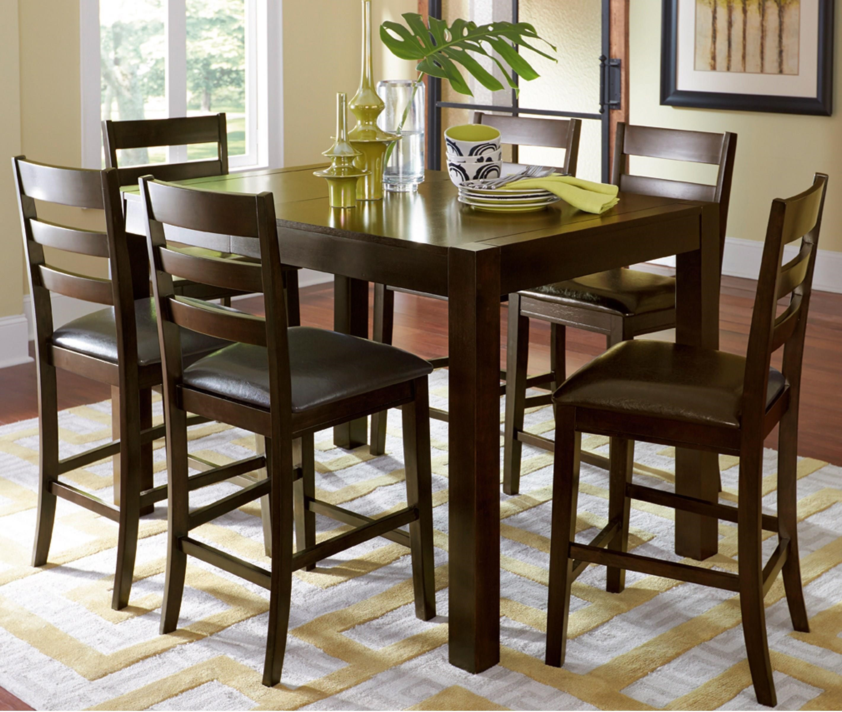 Progressive Furniture Amini 7-Piece Butterfly Counter Table Set - Item Number: P868-12+6x63