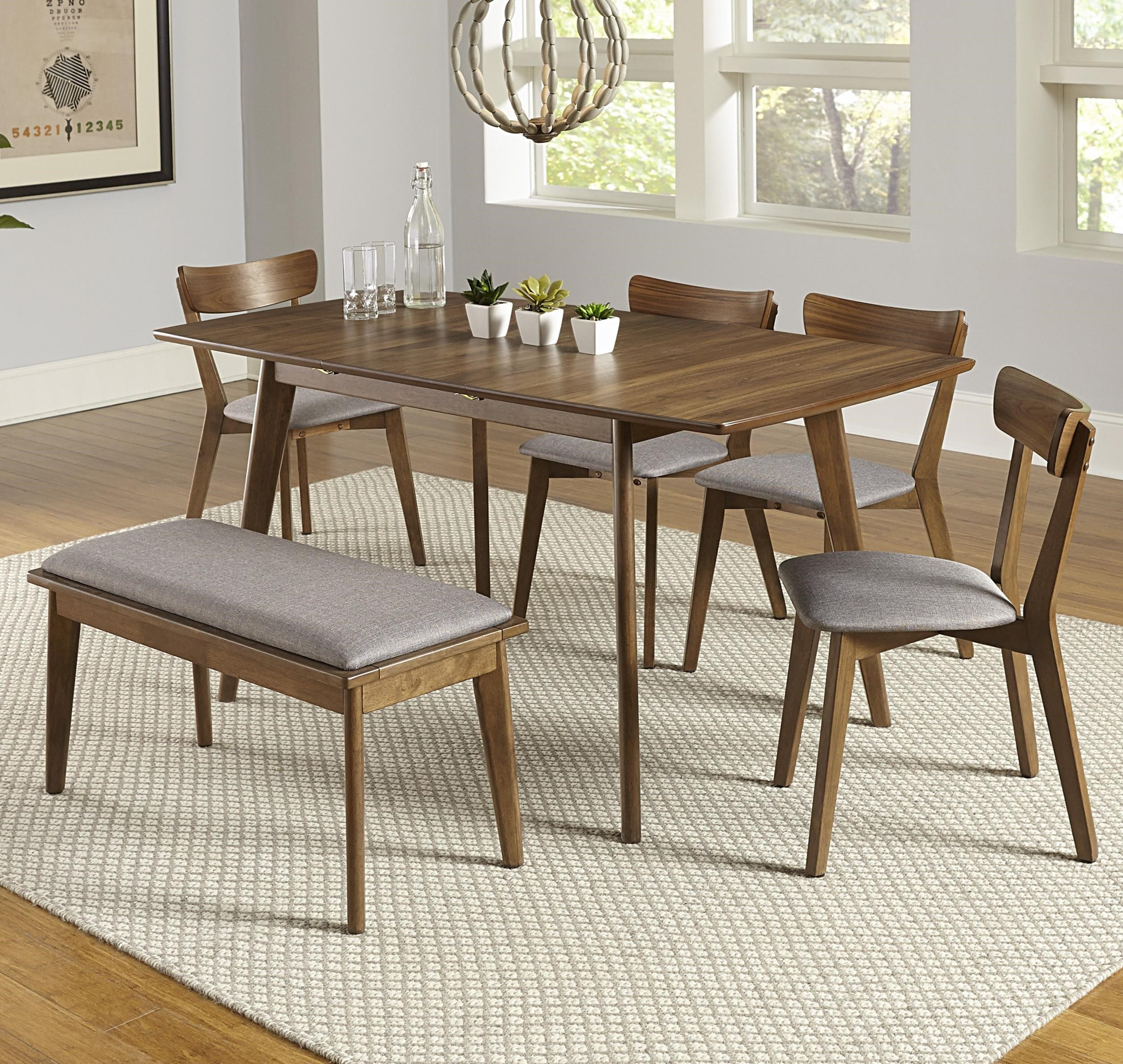 Arcade 6-Piece Butterfly Table Set with Bench by Progressive Furniture at Carolina Direct