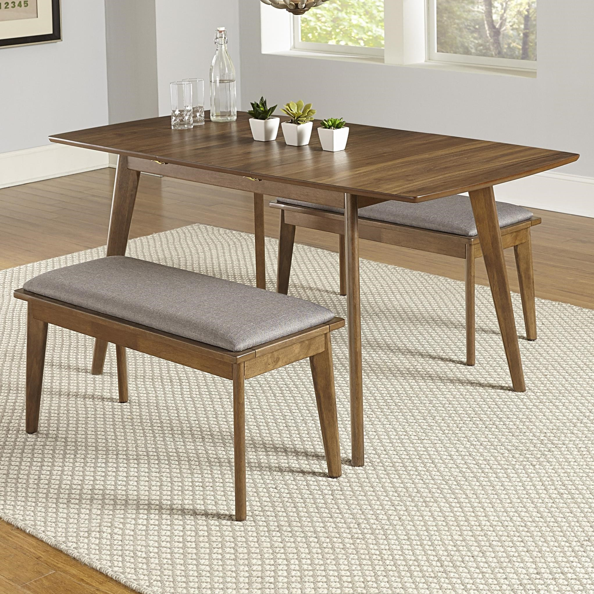 3-Piece Butterfly Table Set with 2 Benches