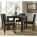 Progressive Furniture Athena 5-Piece Square Dining Table Set - Item Number: P109D-12+4x61