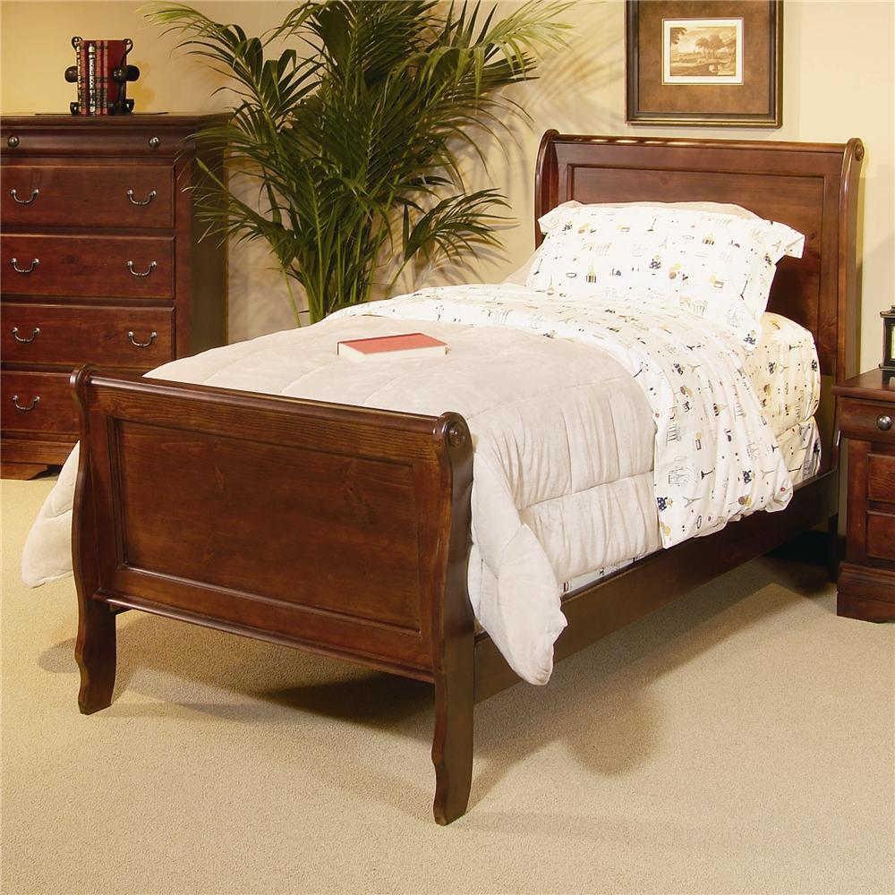 progressive furniture bandera twin sleigh bed with panel detailing