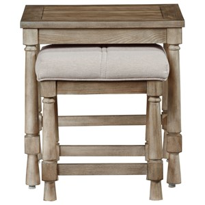 Nesting End Table w/ Upholstered Bench