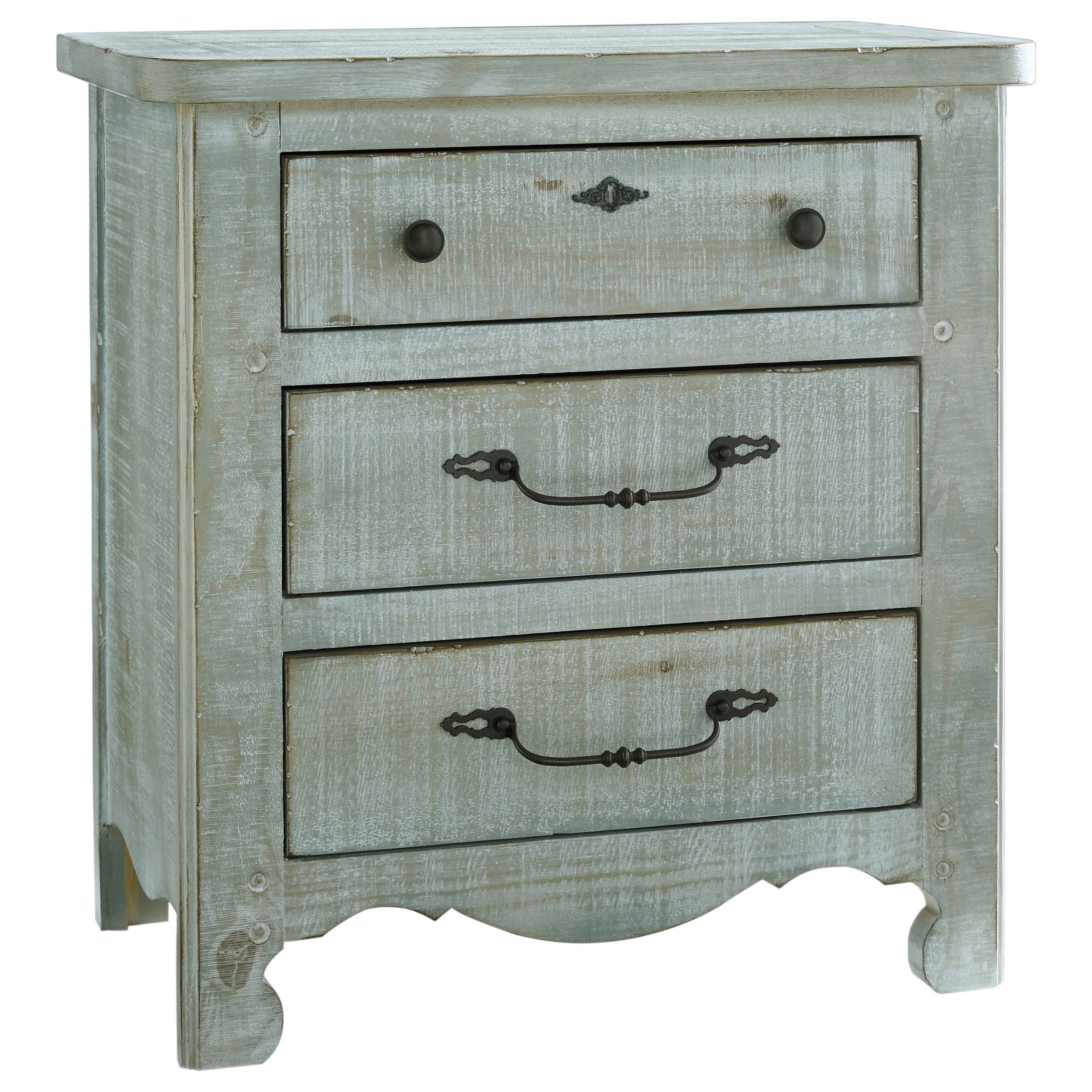 Chatsworth Cottage Distressed Pine 3 Drawer Nightstand By Progressive  Furniture At Wayside Furniture