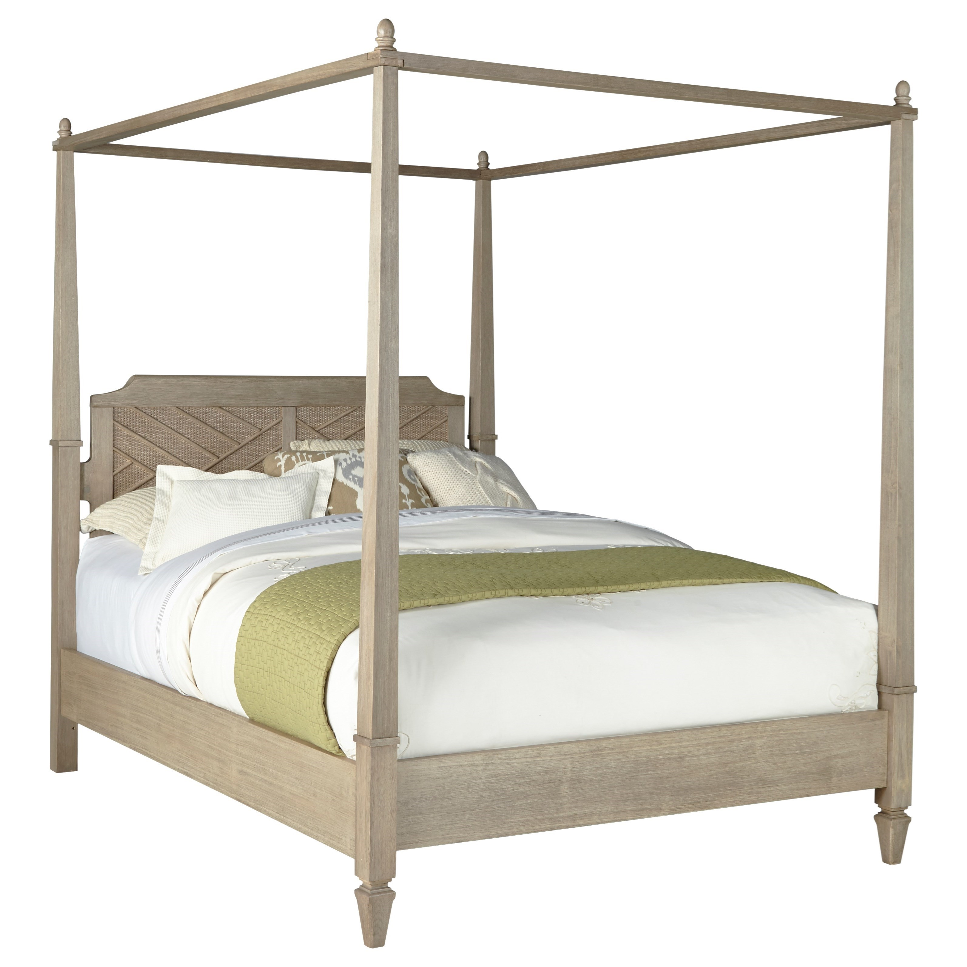 Progressive Furniture Coronado Queen Canopy Bed With Rattan Accenting