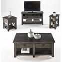 Progressive Furniture Crossroads Rustic Rectangular End Table in Gray Finish