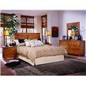 Progressive Furniture Diego Drawer Dresser & Vertical Mirror - Shown with Nightstand and Panel Headboard Bed