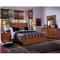 Progressive Furniture Diego Queen Panel Bed - 61652-34+36+77 - Shown with Nightstand and Dresser & Mirror
