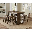 Progressive Furniture Kenny Pub Table and Stool Set - Item Number: D879-14+4x64