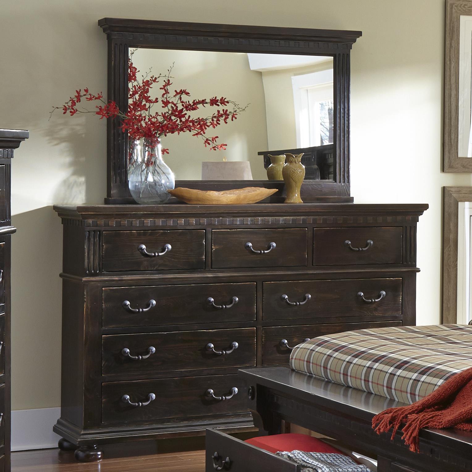 Progressive Furniture La Cantera Drawer Dresser & Mirror - Item Number: P665-23+50