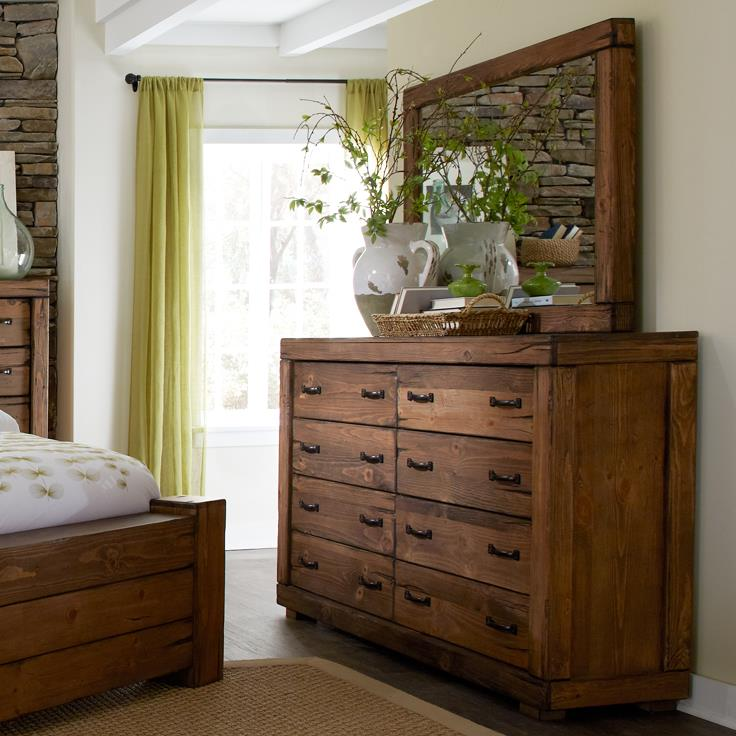 Progressive Furniture Maverick 8 Drawer Dresser & Mirror - Item Number: P626-23+50