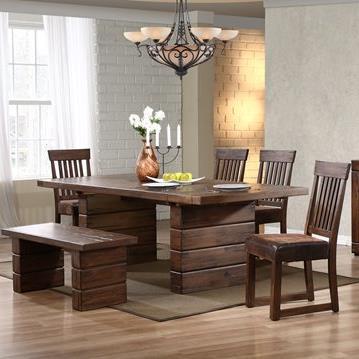 Progressive Furniture Maverick Table & Chair Set with Bench - Item Number: P866-10B+10T+69+4x62