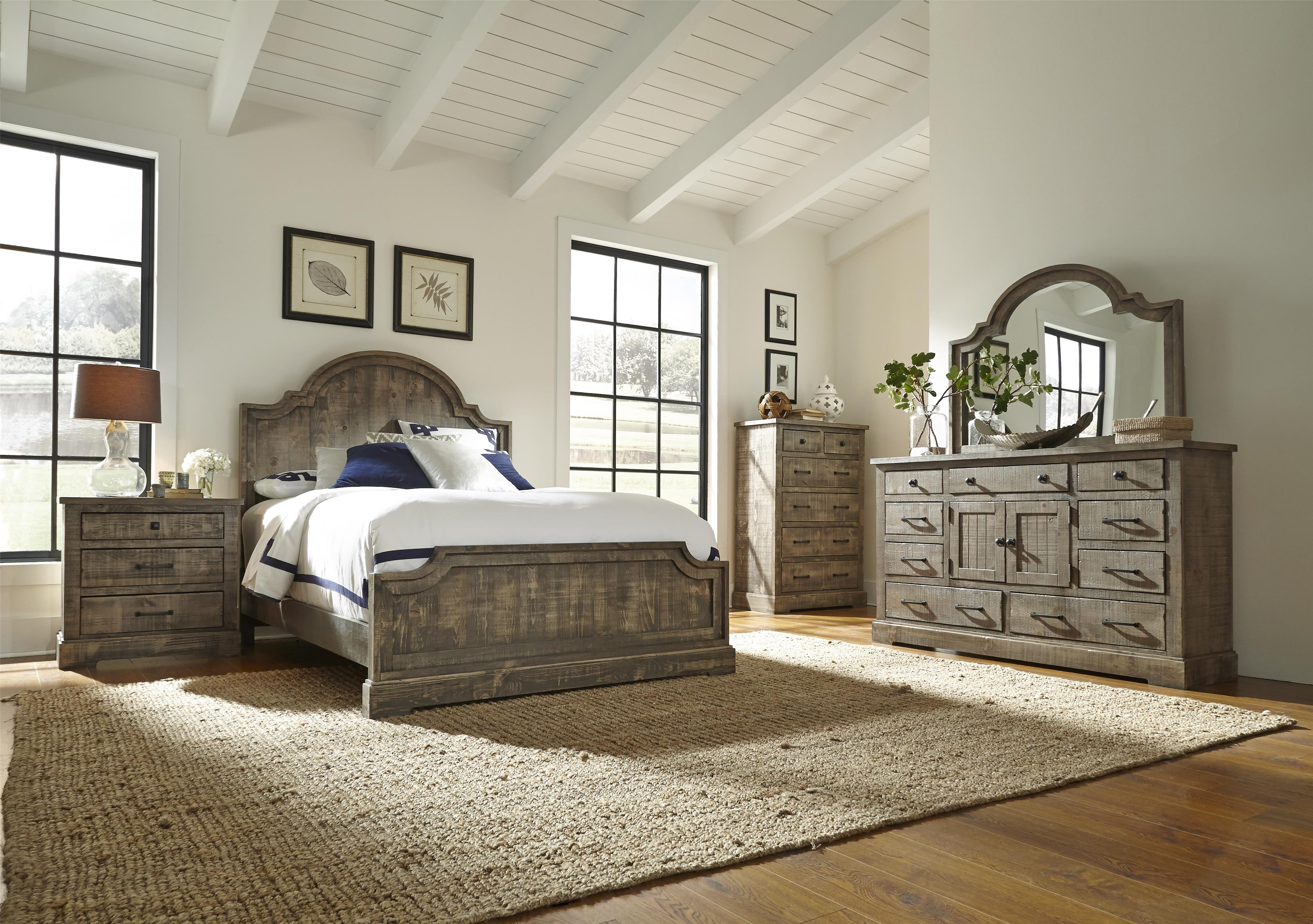 Progressive Furniture Meadow Rustic Pine Queen Panel Bed