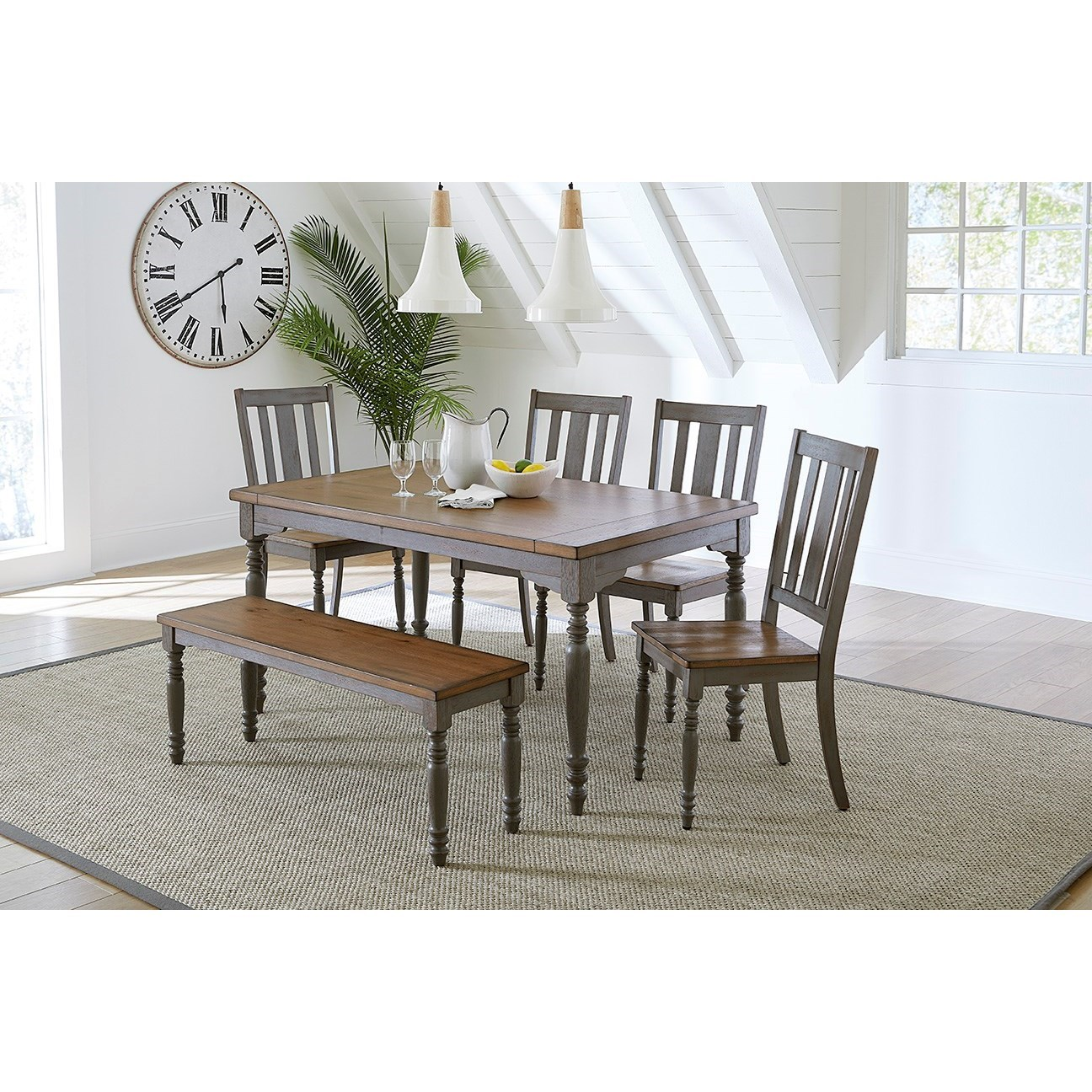 Progressive Furniture Midori Shabby Chic Table And Chair Set With Bench Lindy S Furniture Company Table Chair Set With Bench