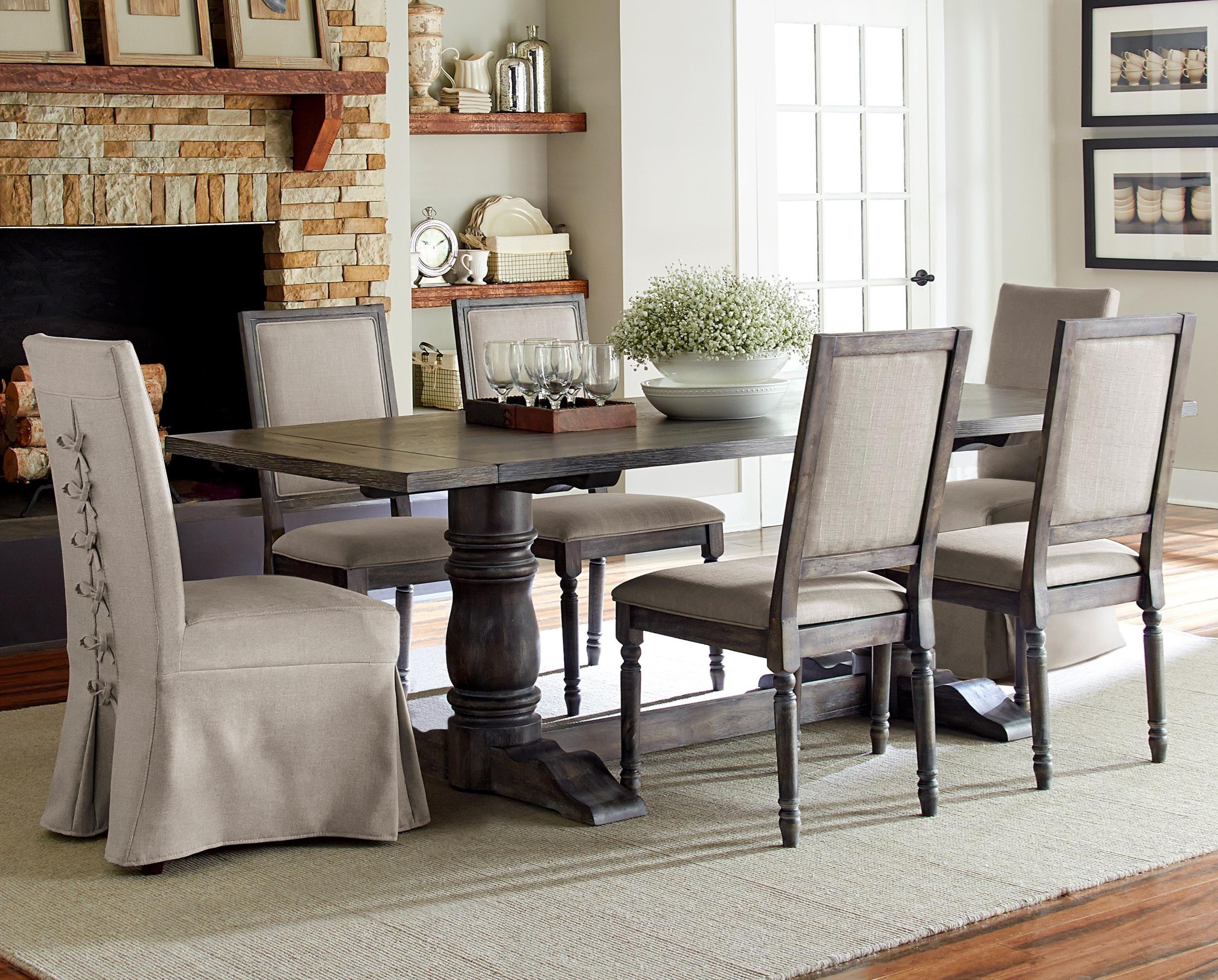 Progressive Furniture Muses 7-Piece Rectangular Dining Table Set - Item Number: P836-10B+10T+2x60+4x65