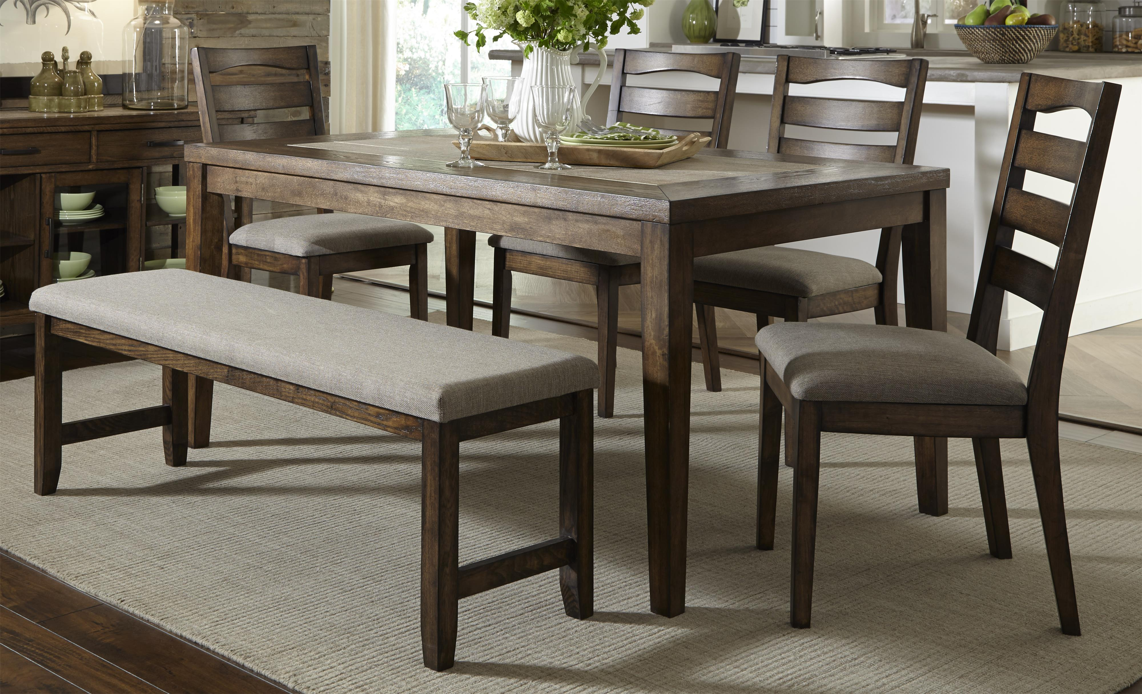 Progressive Furniture Forest Brook 6 Piece Dining Table and Chair Set w/ Bench - Item Number: P378D-10+69+4x61