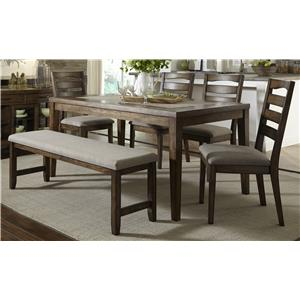 Progressive Furniture Forest Brook 6 Piece Dining Table and Chair Set w/ Bench