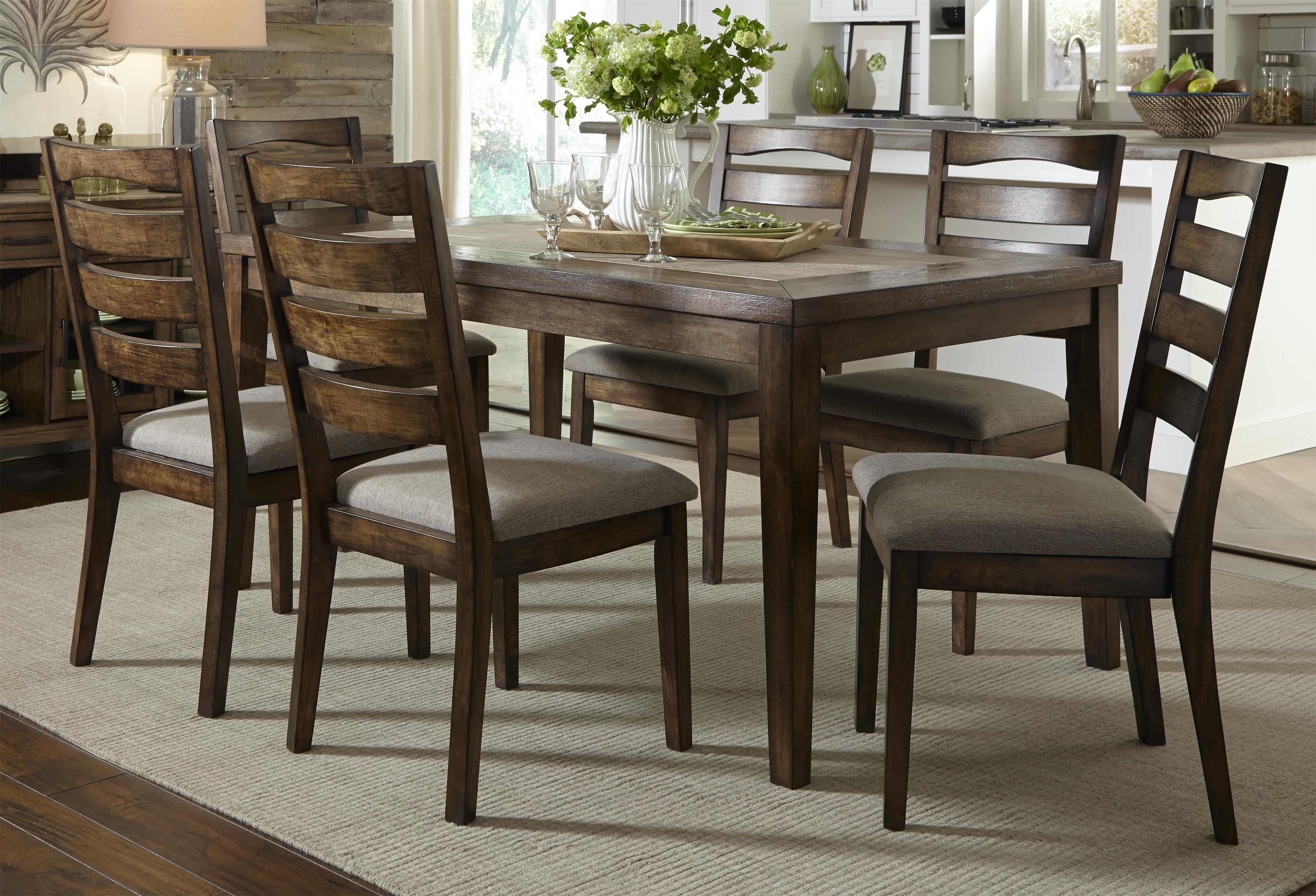 Progressive Furniture Forest Brook 7 Piece Dining Table and Chair Set - Item Number: P378D-10+6x61