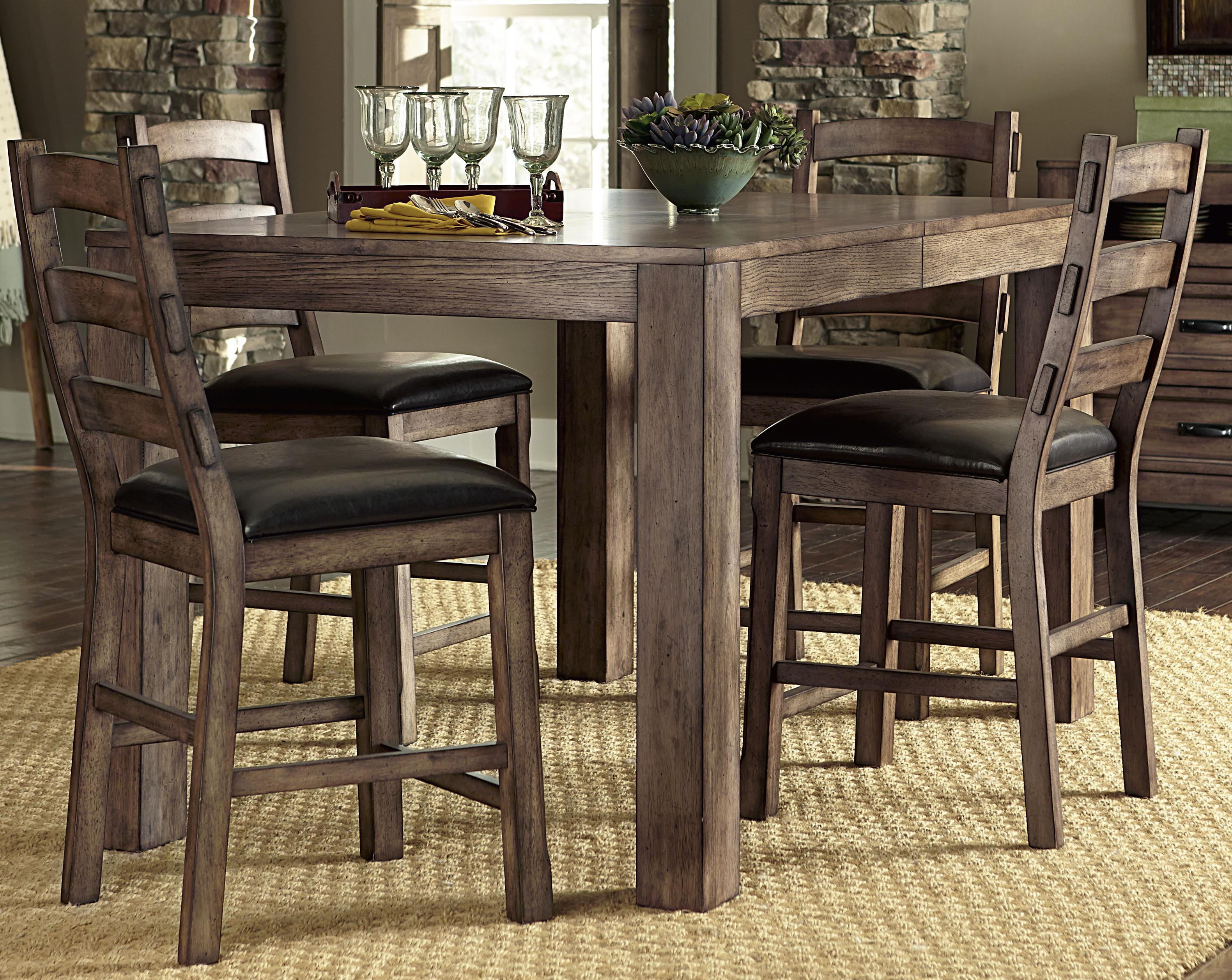 Progressive Furniture Boulder Creek Counter Dining Table and Chair Set - Item Number: P849-12B+12T+4x63