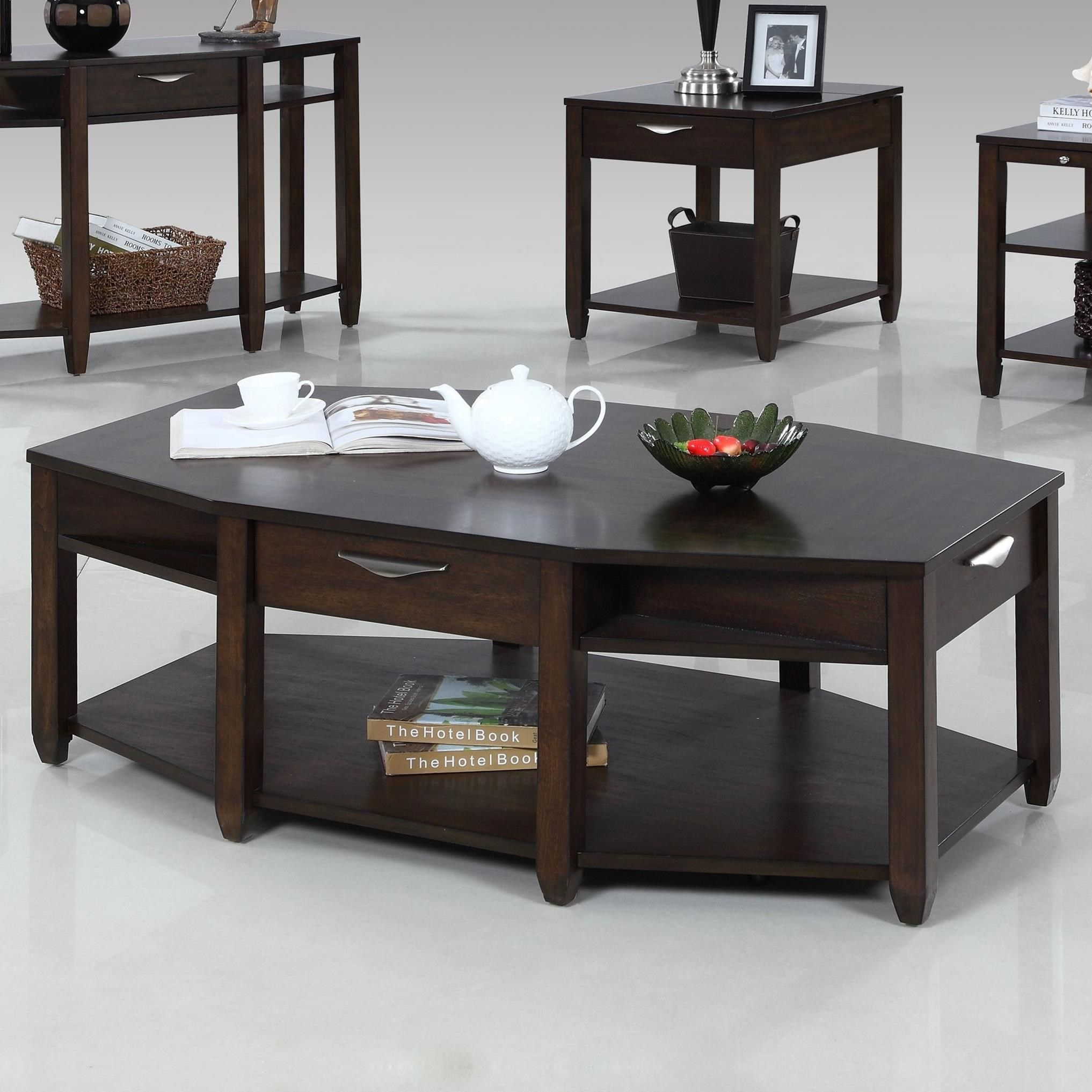Progressive Furniture Paladium Eight Sided Castered Cocktail Table - Item Number: T418-01