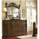 Progressive Furniture Regency Dresser with 9 Drawers and 2 Doors with Landscape Mirror - P166-24+50