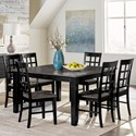 Progressive Furniture Salem 7-Piece Dining Table Set - Item Number: D811-10B+10T+6x61