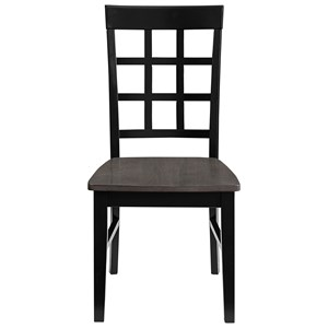 Two-Tone Solid Wood Window Pane Dining Chair
