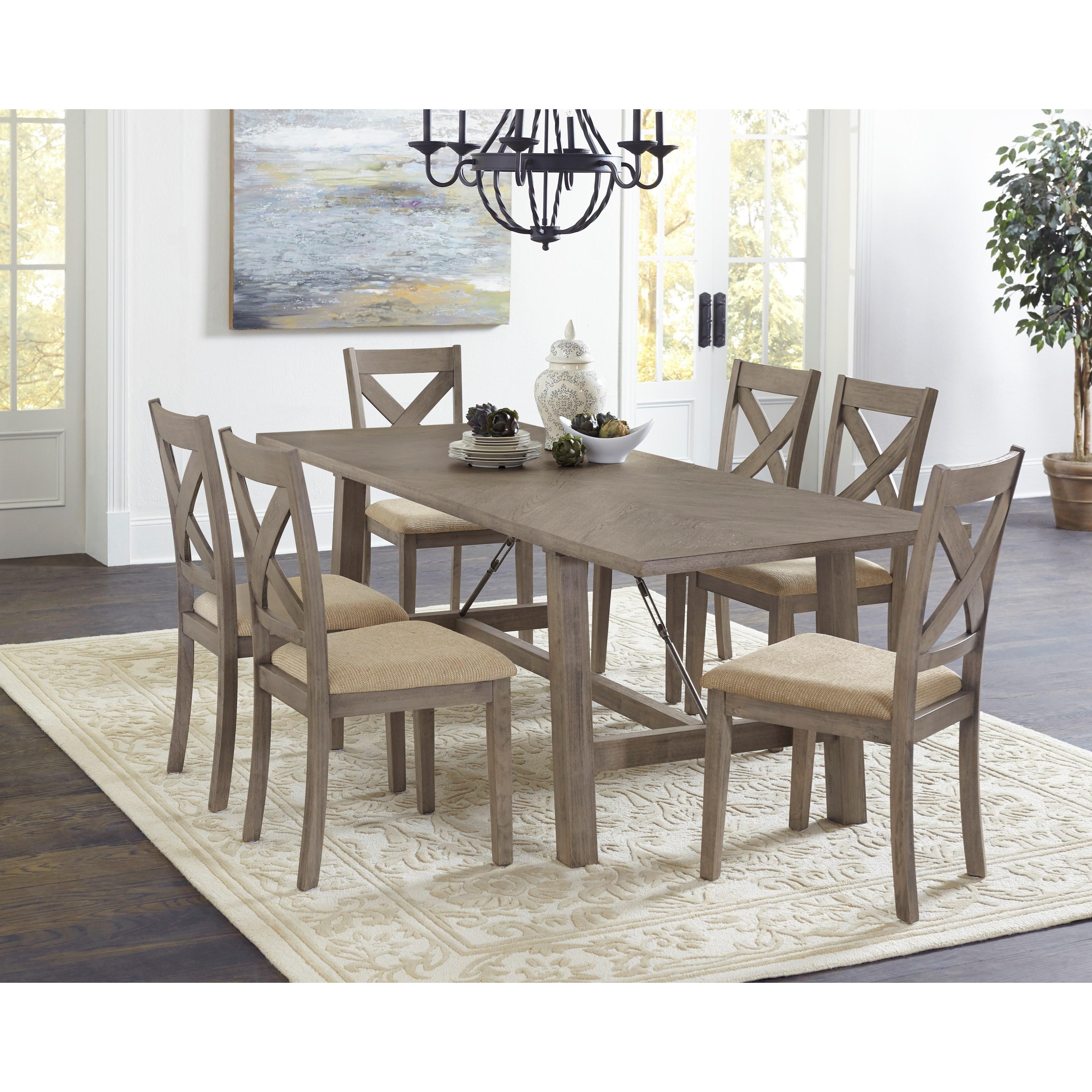 Progressive Furniture Saxton Transitional 6 Piece Dining Set With