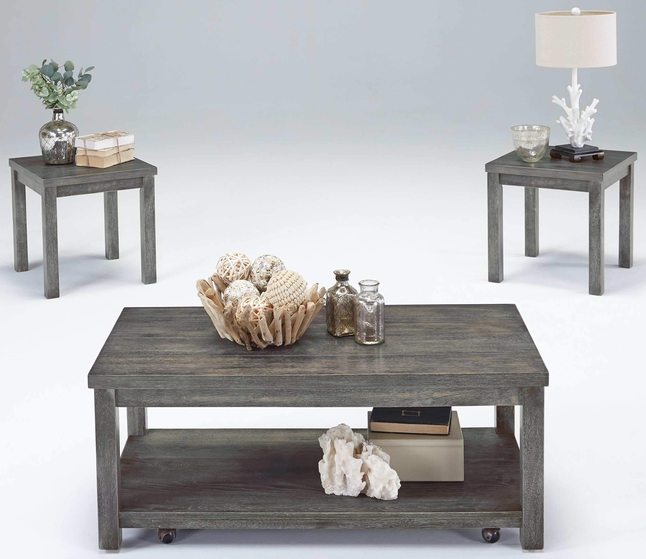 Castered Cocktail Table & 2 End Table Set
