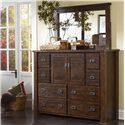 Progressive Furniture Trestlewood Dresser w/ 8 Drawers - P611-24 - Dresser Shown in Room Setting with Mirror